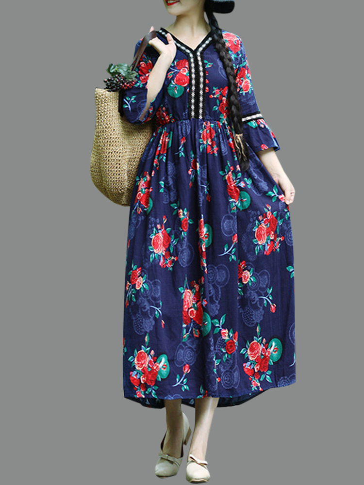 Vintage Floral Print Bell Sleeve Loose Mid-long Dress