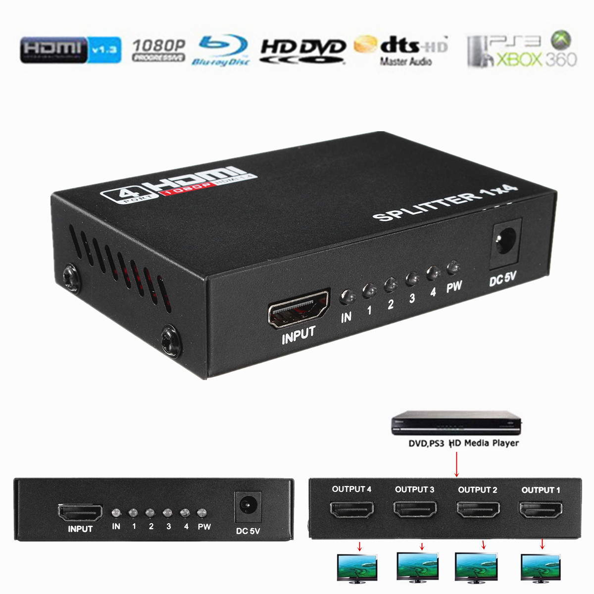 1X4 4 Port V1.4 3D 1080P Full HD HDMI Splitter Hub EU Plug US plug