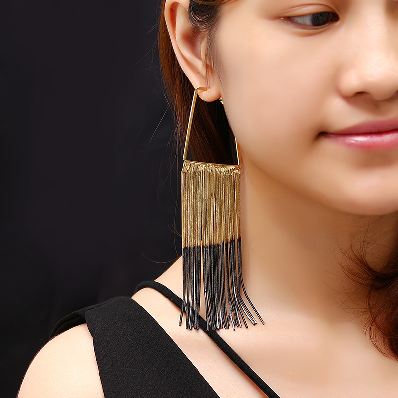 JASSY® Luxury Statement Piercing Earrings Gold Gun Black Layered Plating Tassel Jewelry for Women
