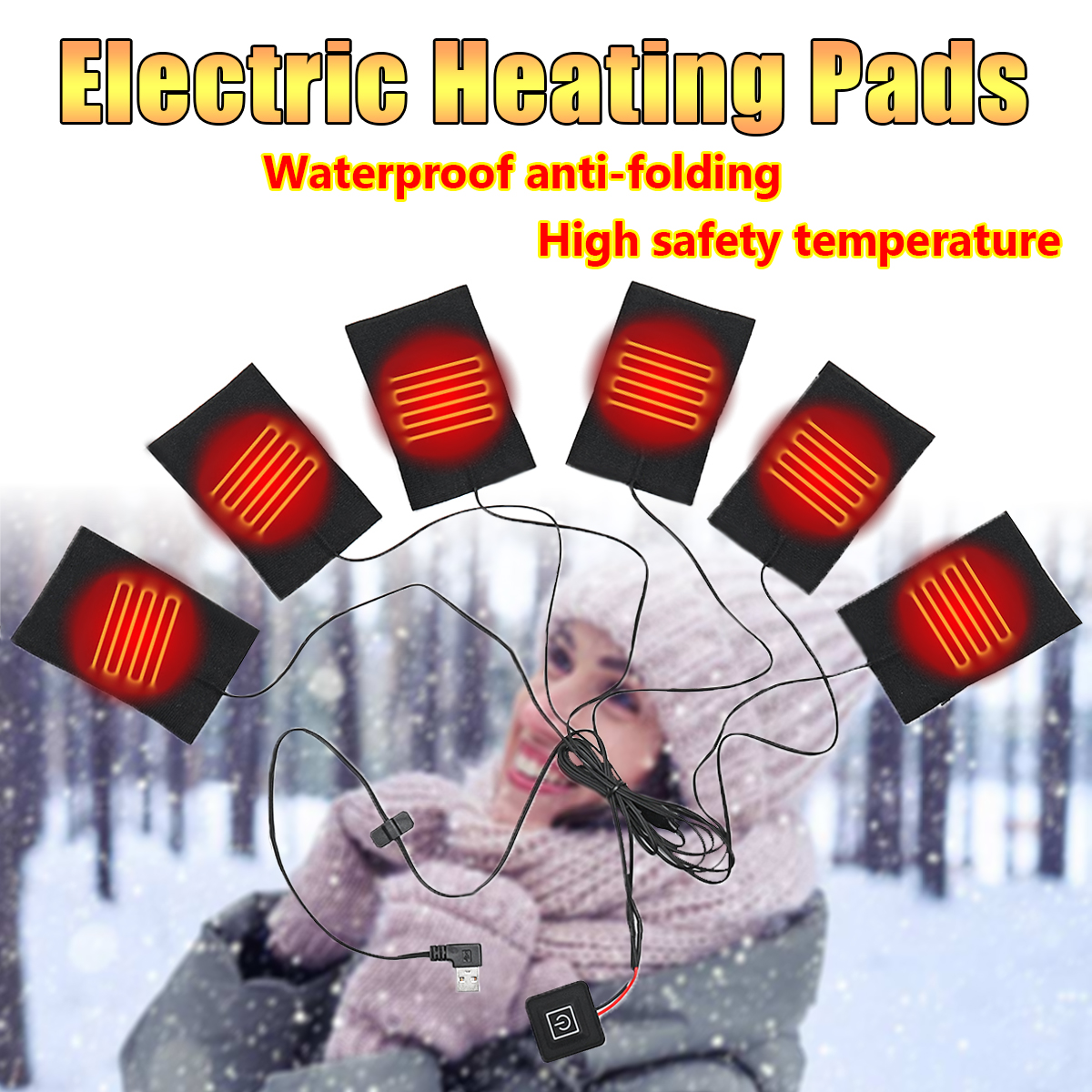 6 in 1 USB Electric Heating Pads Thermal Clothes Heated Mobile Warming Gear