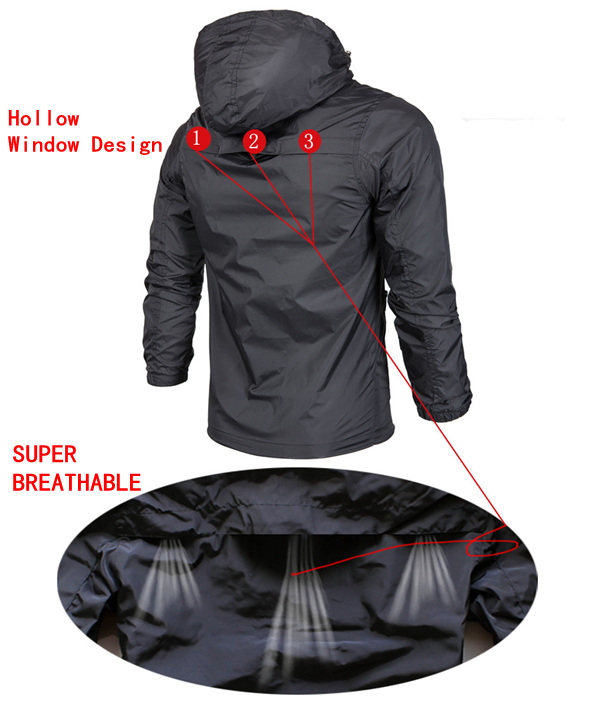 Windproof Waterproof SPF Outdoor Sports Bilayer Hooded Quick-dry Breathable Men Trench Coat Jacket
