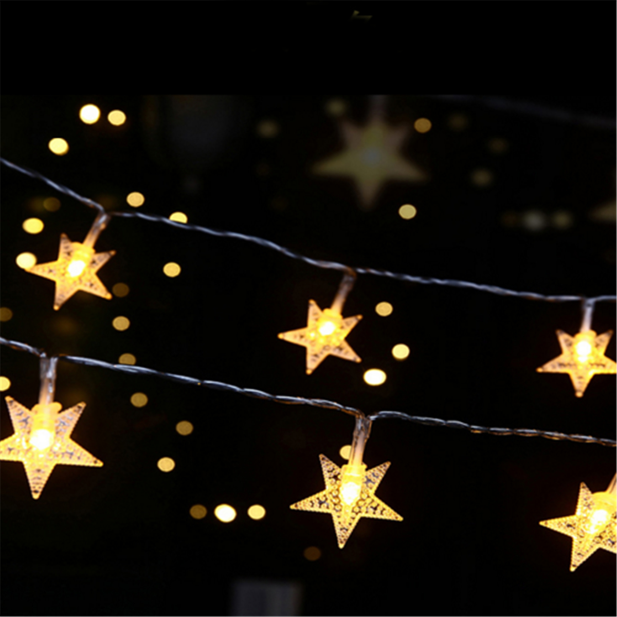 Battery Powered 2M 20LEDs Star Shaped Waterproof Fairy String Lights For Wedding Christmas