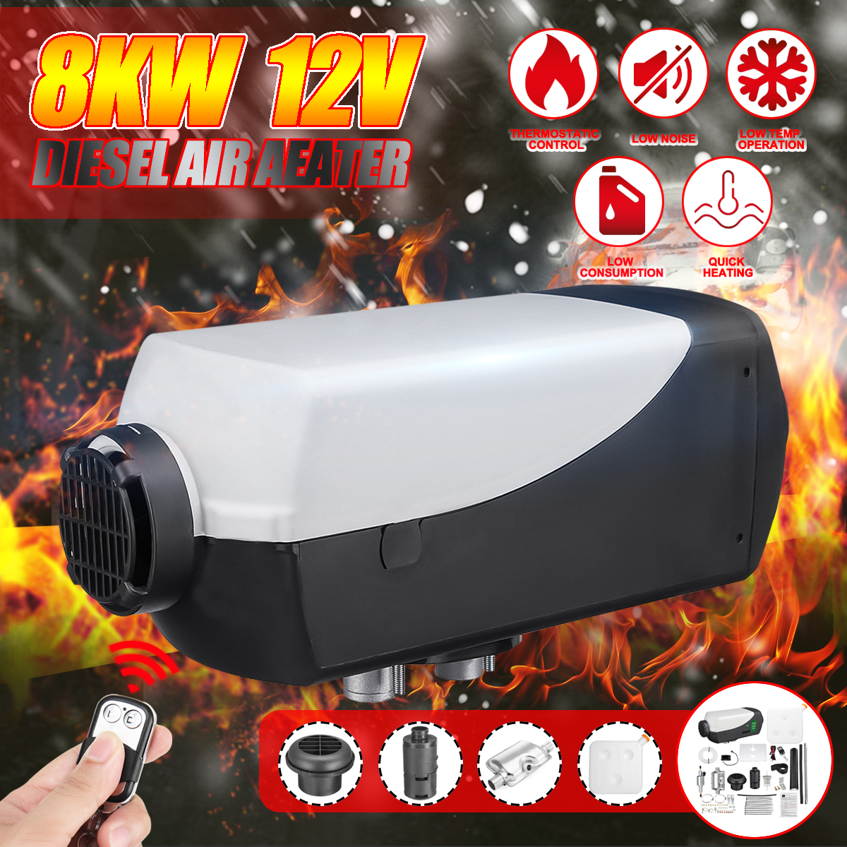 8KW Remote Control 12V LCD Silencer Parking Heater Air Parking Heating Machinie Diesel Air Heater Kit