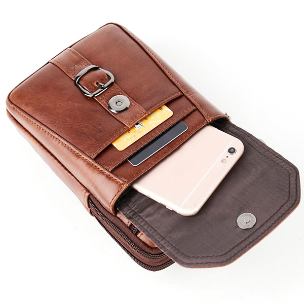 Men Genuine Leather Personalized 5.5 Inches Phone Bag