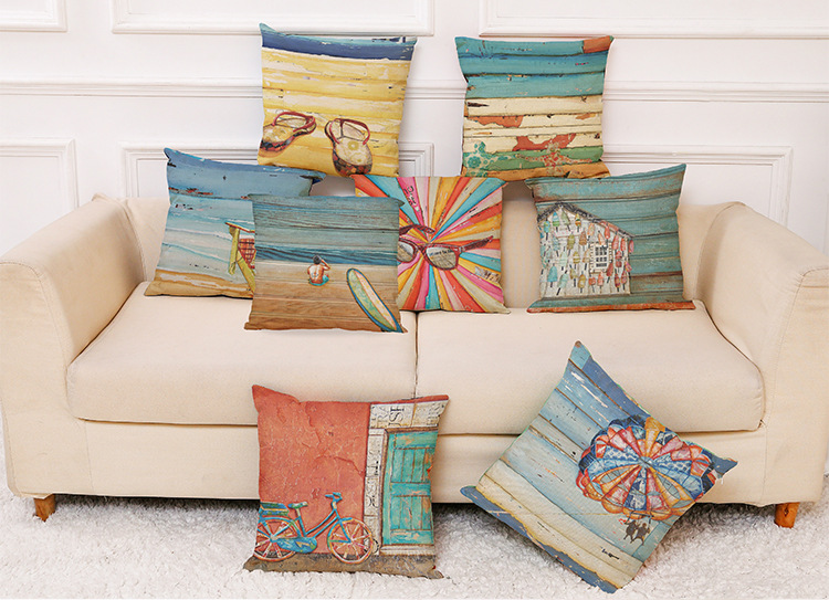 45 x 45cm Summer Beach and Oil Painting Cotton Linen Pillow Case Home Office Car Cushion Pillowcase
