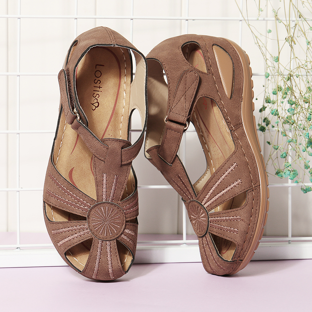 9a7b3d02a0f0 lostisy women wedges shoes splicing casual comfy sandals at Banggood