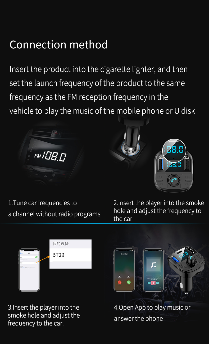 BT29 Car MP3 bluetooth Player QC 3.0 Charger FM Type-C Support 32GB USB TF Card