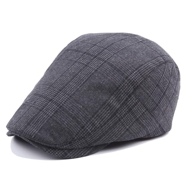 Adjustable Cotton Grid Beret Hat Men Women Outdoor Sports Plaid Sun Proof Forward Peaked Cap