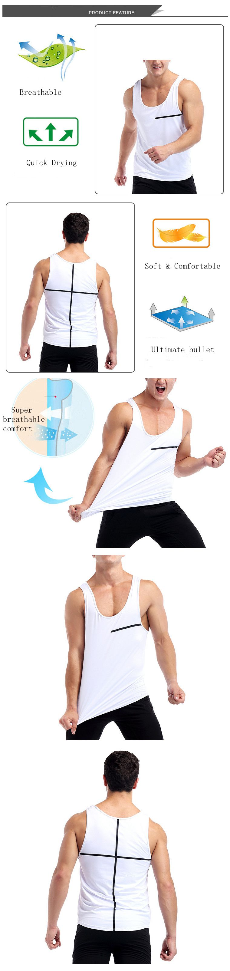 White Quick Drying Line Printed Tight Fitness Sleeveless T-shirt Men's Running Training Sport Vest