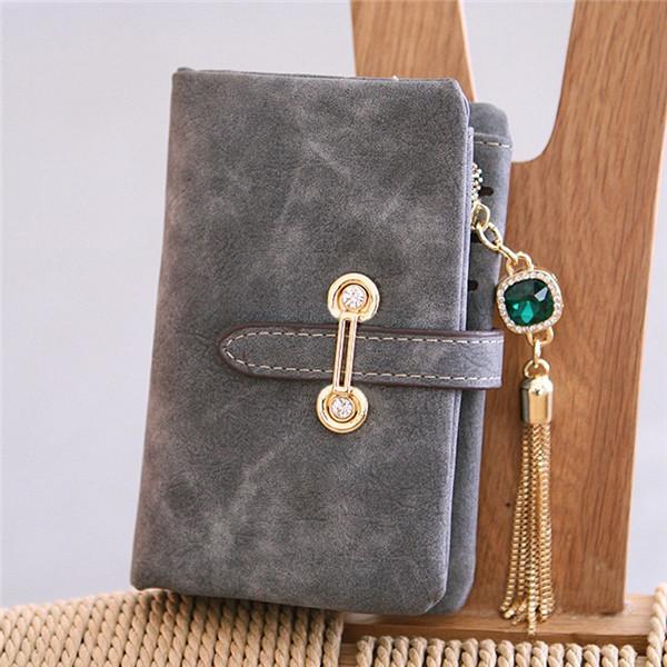 Women Nubuck Leather Tassel Long Wallet Zipper Belt Purse Card Holder Coin Bags