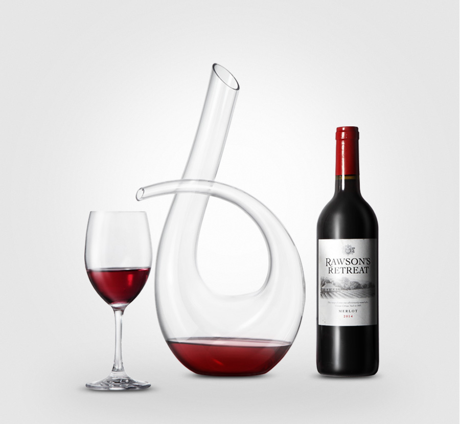 KCASA KC-RD82 1200ml Lead Free Crystal Glass Number 6 Shape Horn Wine Decanter Carafe Aerator Pourer