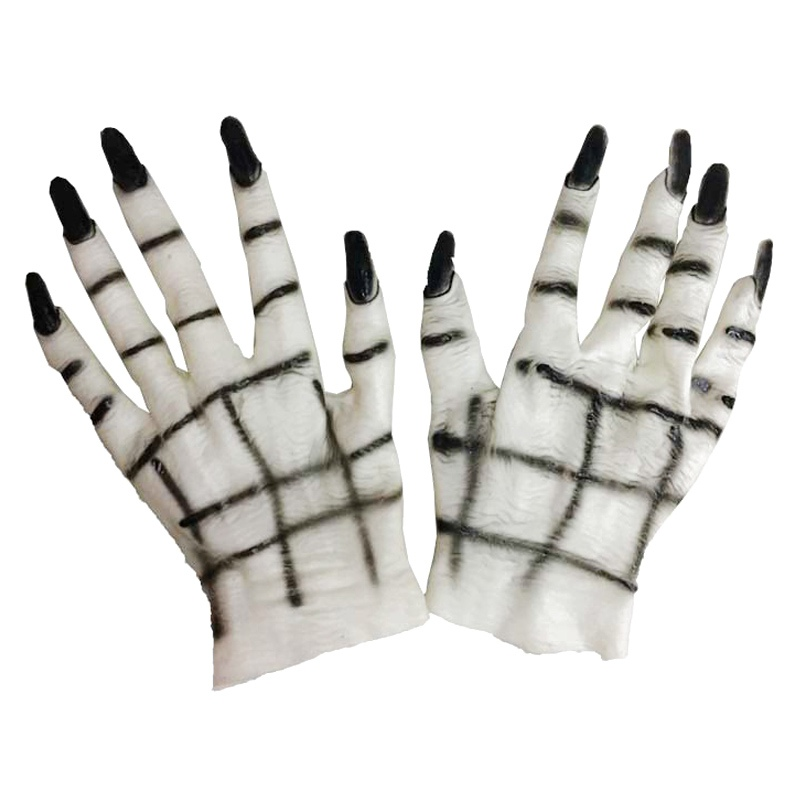 Halloween Ghost Gloves Horror Spooky Cosplay Hand Props Demon Latex Dress Masquerade Adult