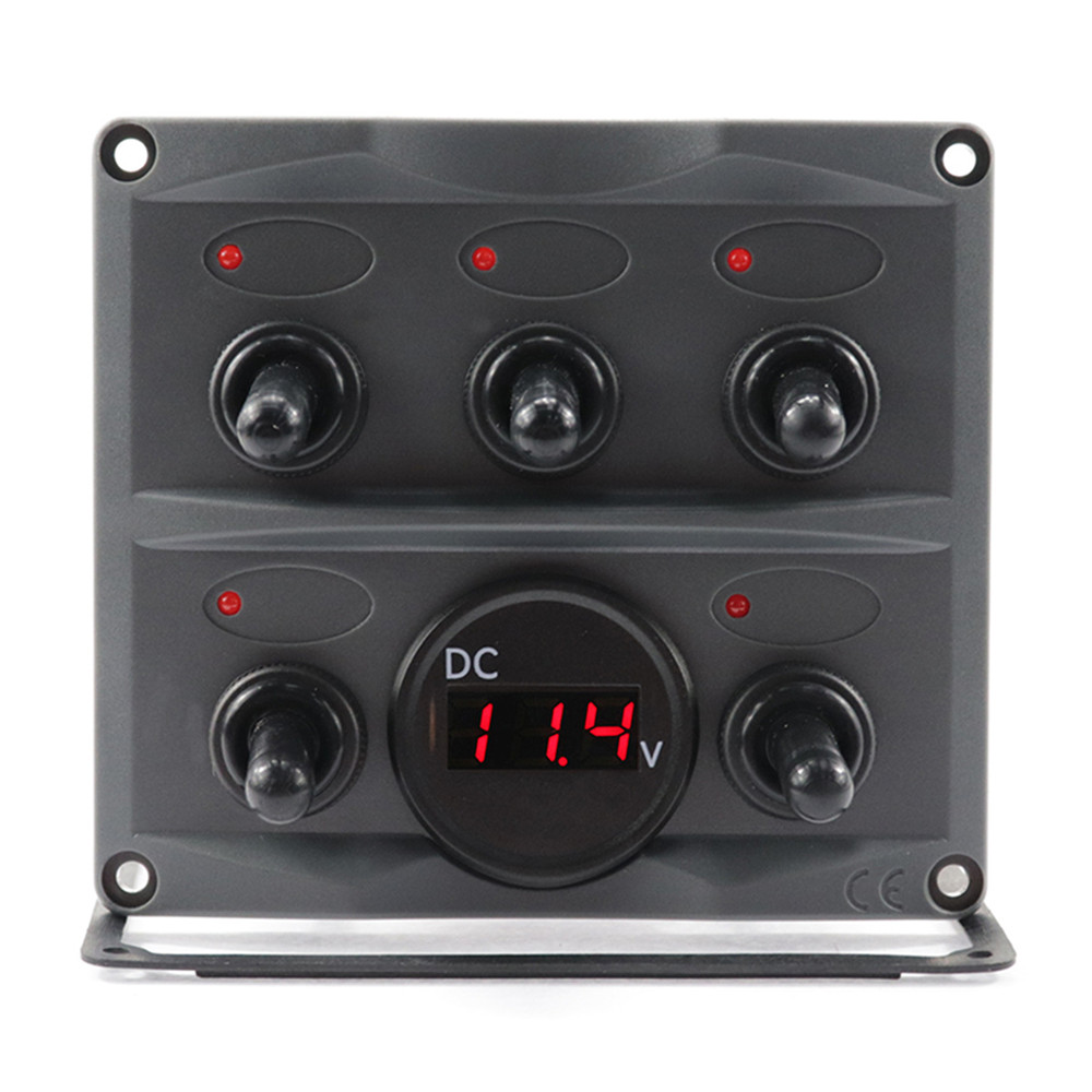 12V 24V Car Motorboat 5 Gang LED Rocker Toggle Switch Panel Digital Display Boat Voltage Meter