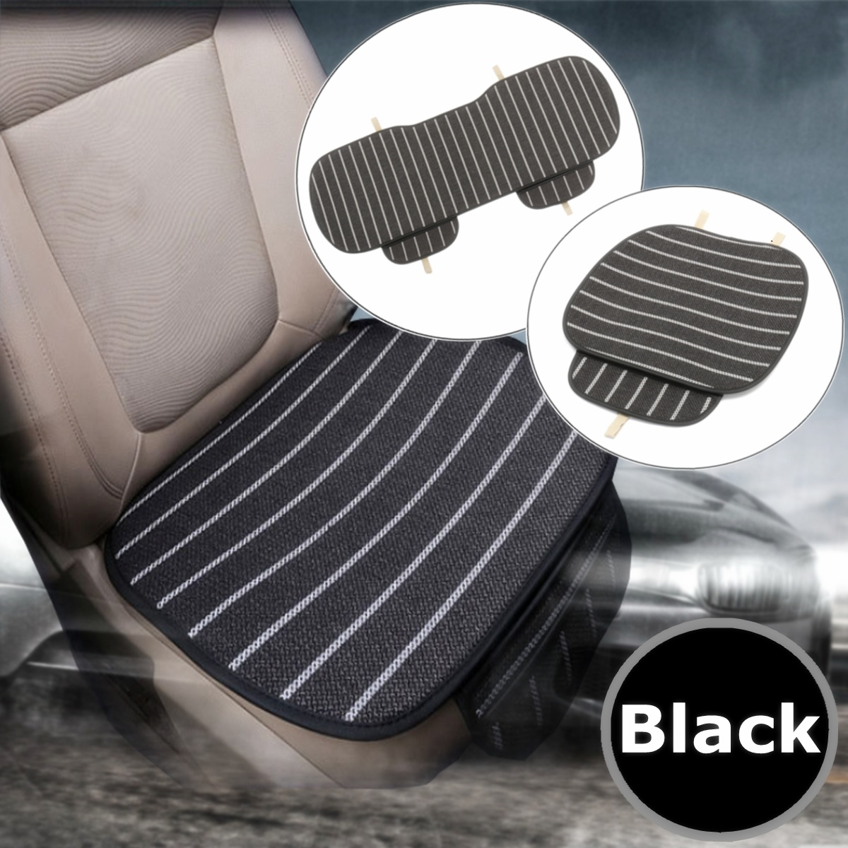 3Pcs Car Seat Cover 5-Seats Breathable Linen Fabric Pad Mat For Auto Chair Cushion