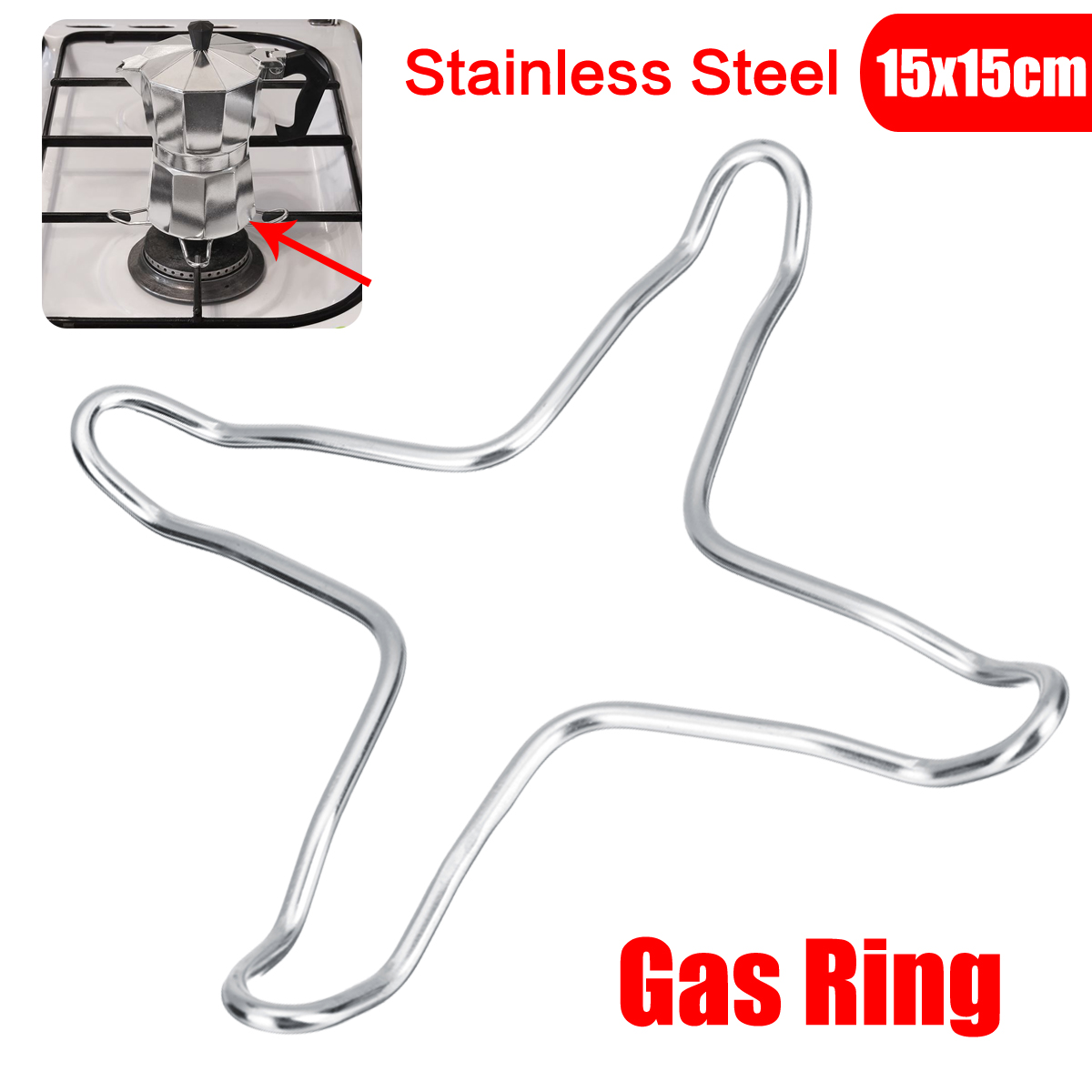 Stainless Steel Gas Ring Hob Stove Top Reducer Coffee Pot Rest Coaster