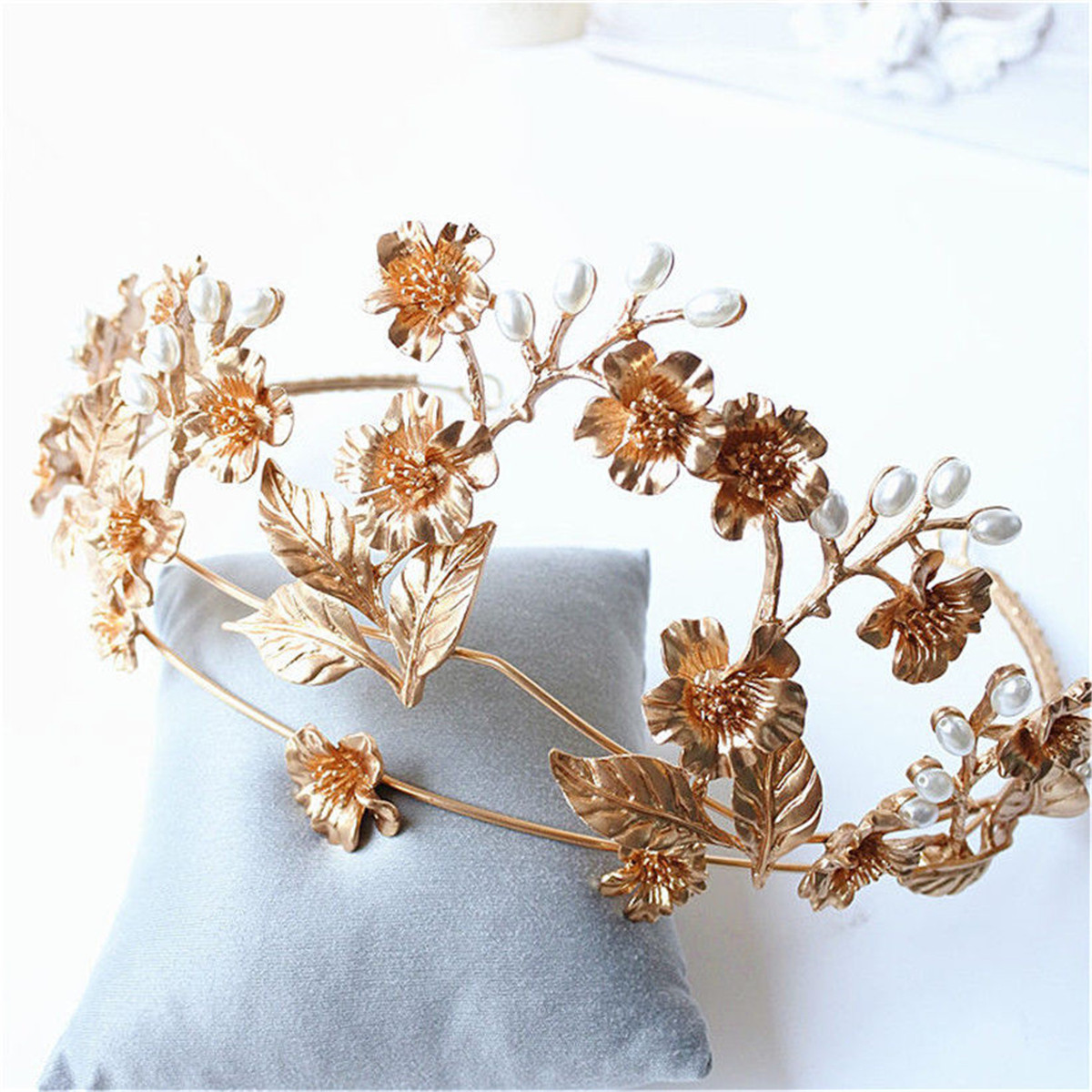 Bride Flower Leaf Bead Gold Metal Queen Crown Tiara Bridal Wedding Headpiece Headband