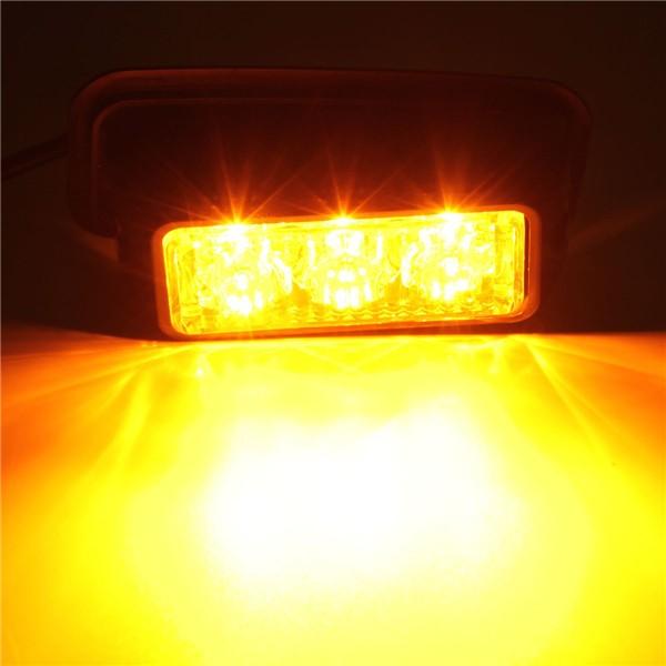 12V 3W 3 LED Emergency Strobe Flashlight Yellow Waterproof
