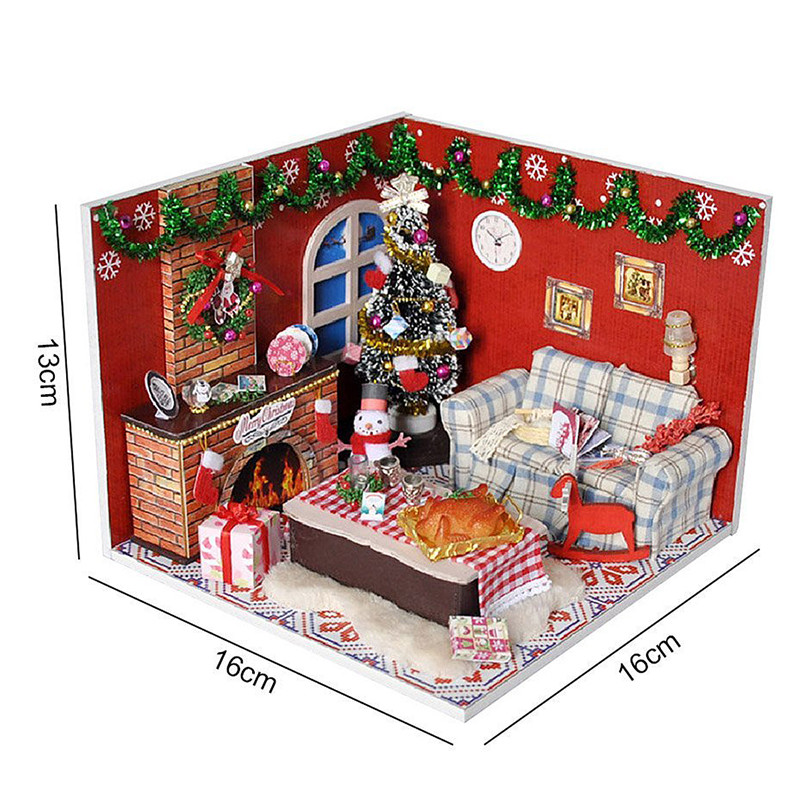 DIY Wooden Doll House Furniture Kits LED Light Miniature Christmas Room Puzzle Toy Gift Decor