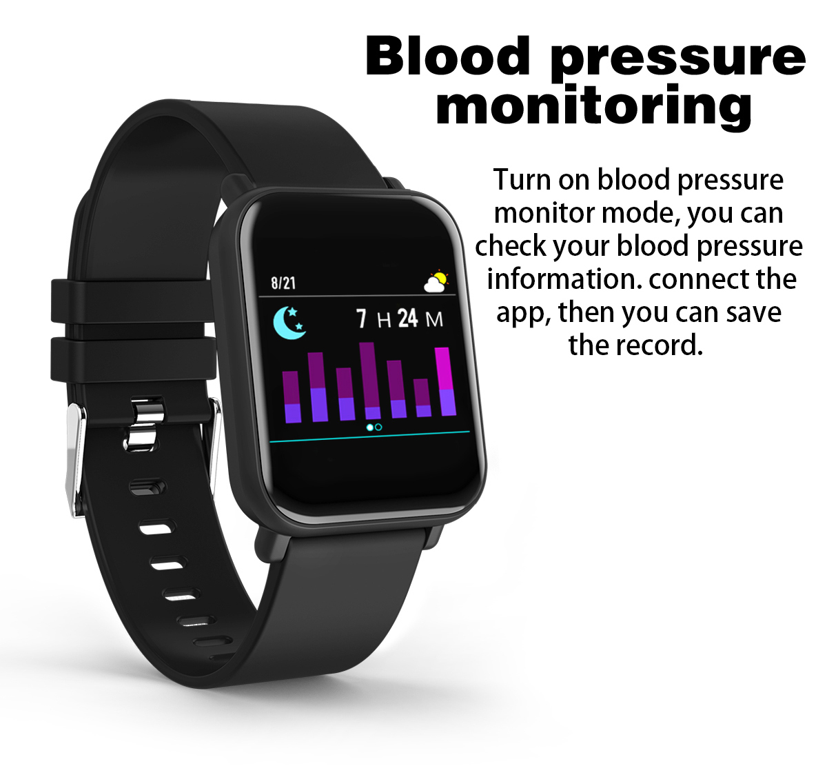 Bakeey R6 1.3' Full Color Screen 24h HR Blood Pressure Oxygen Monitor Message Call Show Smart Watch