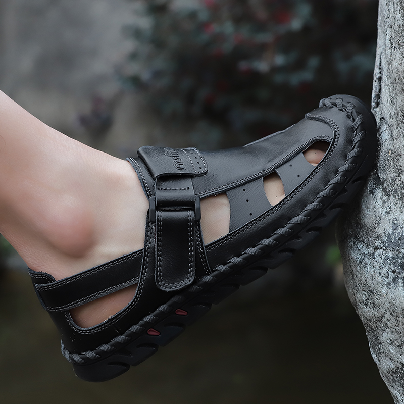 Lifted Toe Stitching Genuine Leather Sandals