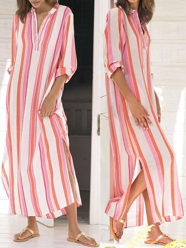 Casual Women Striped Button Neck Split Hem Long Sleeve Dress