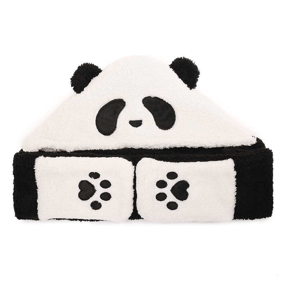 Unisex Lamb Plush 1-piece Cute Panda Gloves Pocket Scarf Hat