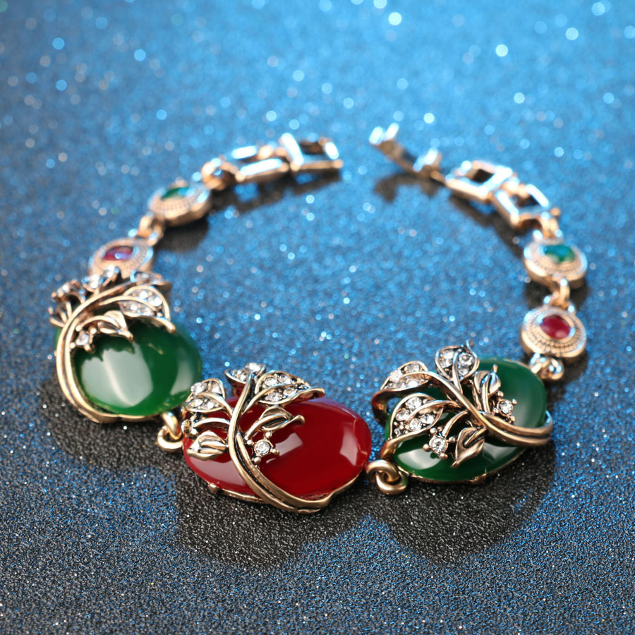 Ethnic Ruby Resin Bracelet Retro Crystal Emerald Bracelets