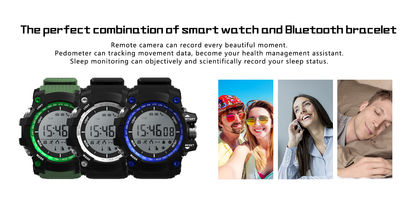 F2 Thermometer Altitude Pedometer Calorie Long Standby Time Outdoor Sport Smart Watch For iphone X 8