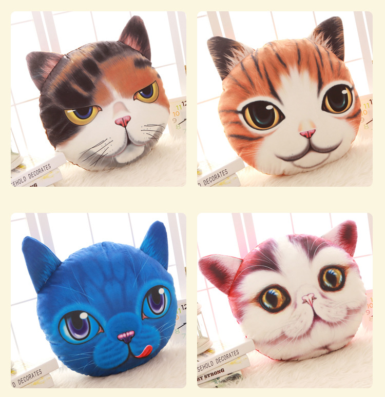 Creative Funny 3D Dog Cat Head Pillow PP Cotton Simulation Animal Cushion Birthay Gift Trick Toys