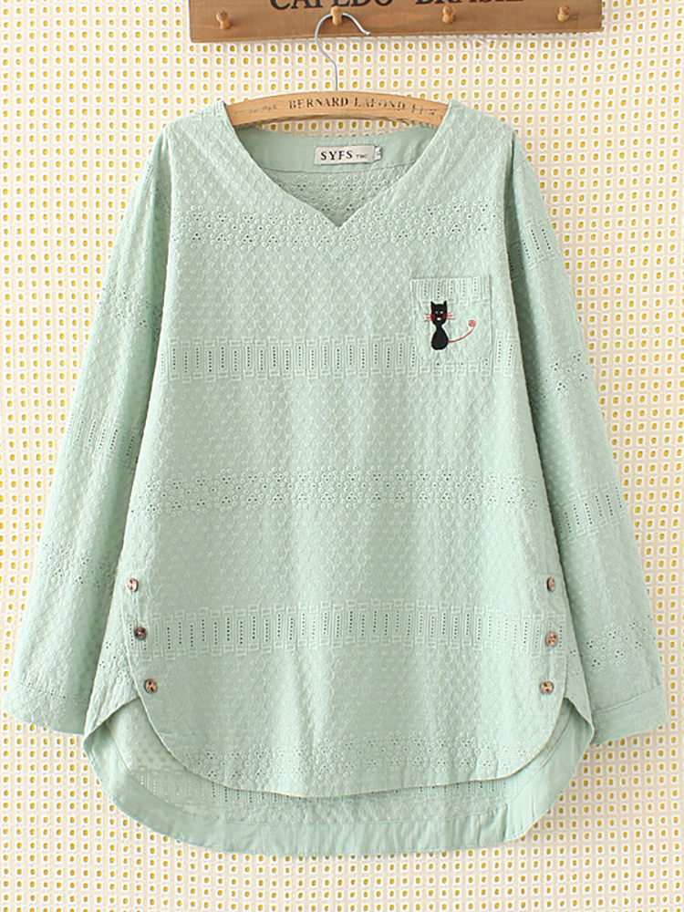 Women Embroidery Cat Hollow Out Loose Cotton Shirt