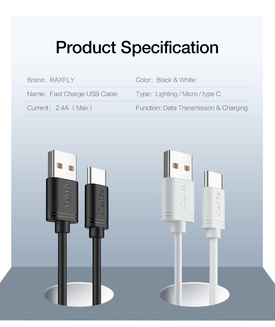 RAXFLY 2.4A Type C Fast Charging Data Cable 1M For Oneplus 6 Xiaomi Mi8 Mi A2 Pocophone f1 S9