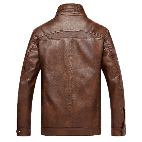 Mens Faux Leather Thick Warm Fleece Motorcycle Biker Jacket