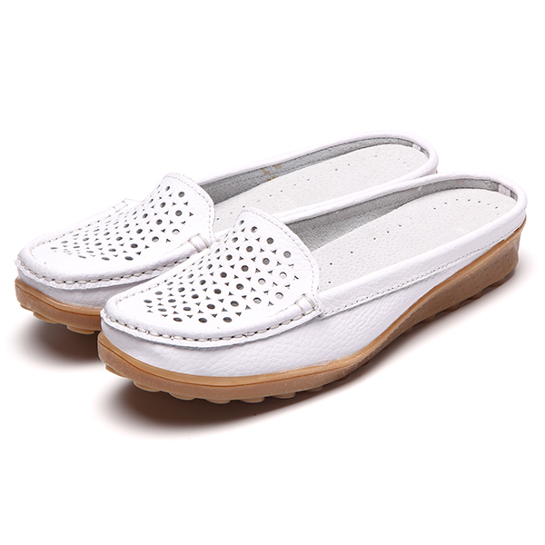 Soft Hollow Out Round Toe Penny Loafers