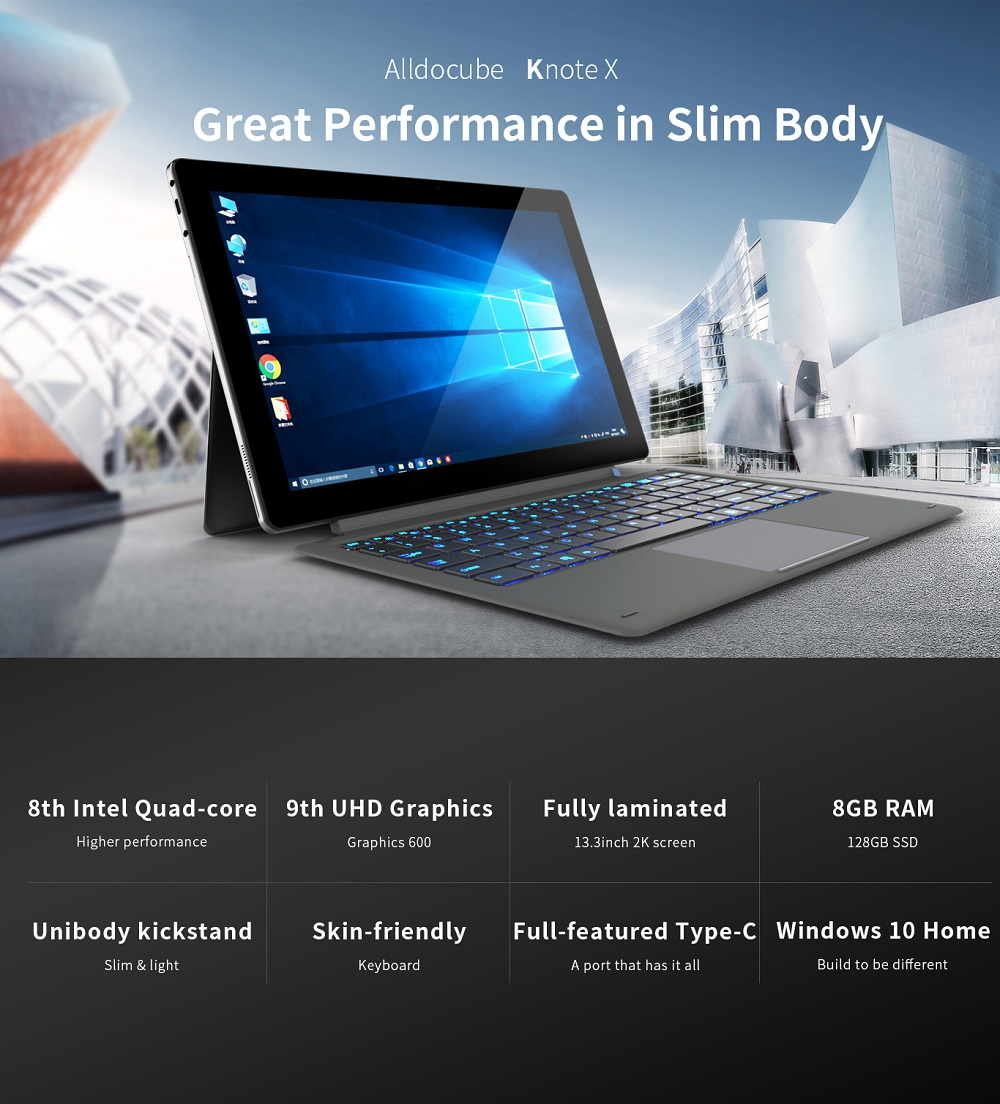 Original Box Alldocube KNote X 128GB Intel Gemini Lake N4100 Quad Core 13.3 Inch Windows 10 Tablet
