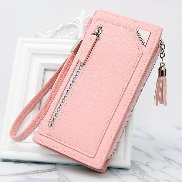 Stylish PU Leather 12 Card Slots Candy Color Long Wallet