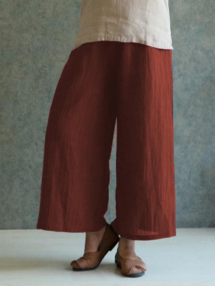 Celmia M-4XL Women Solid Cotton Linen Pant