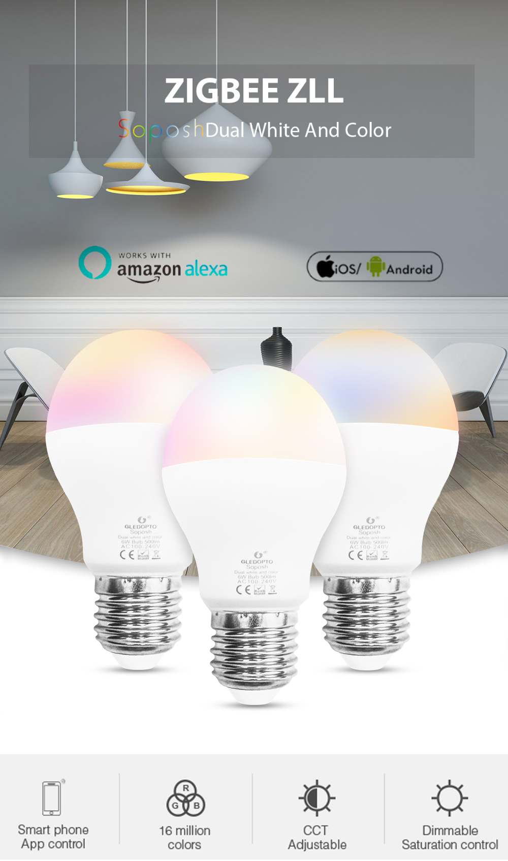 GLEDOPTO Zig.Bee GL-B-007Z AC100-240V E27 6W RGBWW Smart LED Light Bulb Compatible with Philips HUE