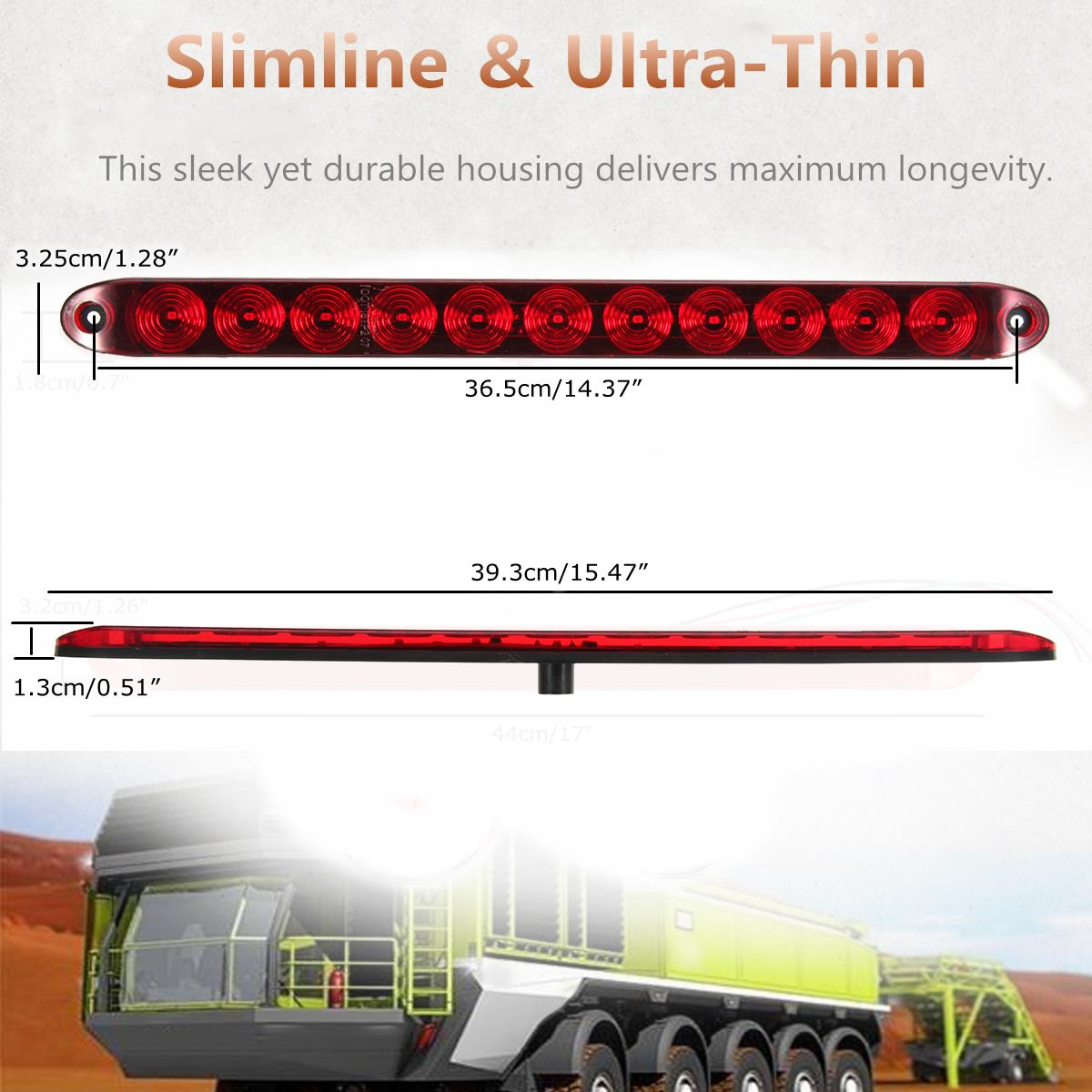 15Inch DC12V Red 4 Wires 11 LED Light Bar Stop Turn Tail 3rd Brake Lights for Truck Trailer