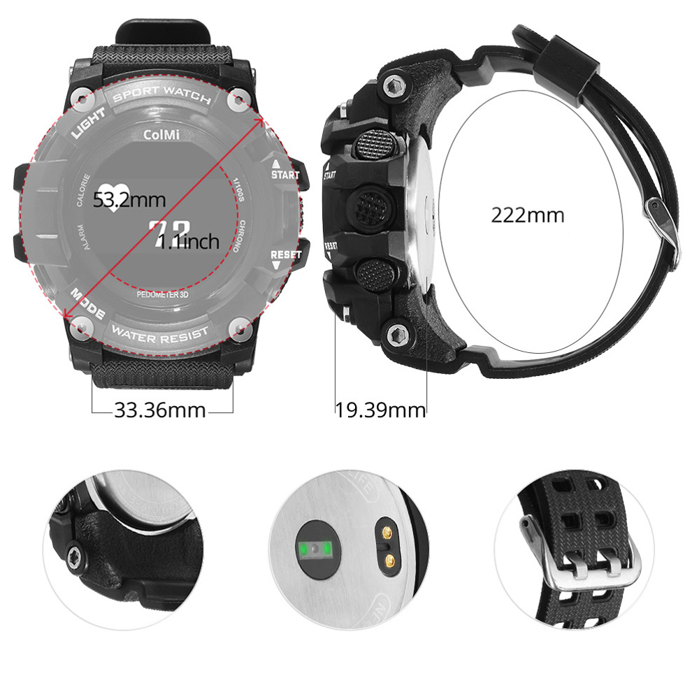OLED Display Heart Rate Monitor IP68 Waterproof Smart Watch for Android IOS Phone