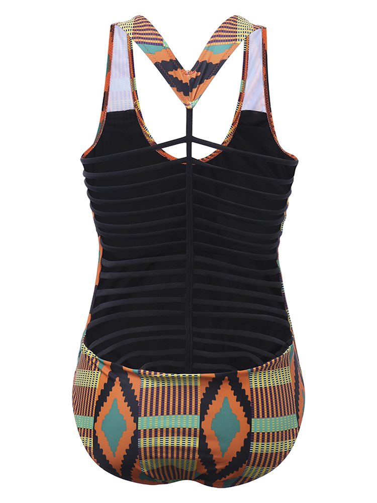 Sexy Geometric Striped Printing Bandage Slingback One pieces Bathing Suits