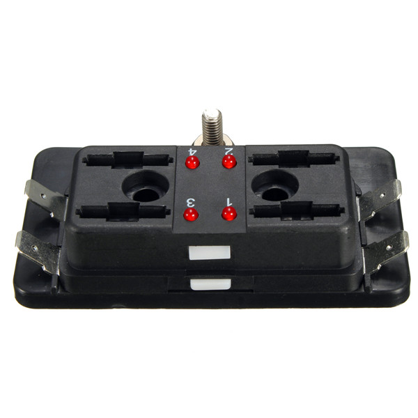 4 Way Side Terminal Bussed Power Blade Fuse Box Block Holder With Cover&Light