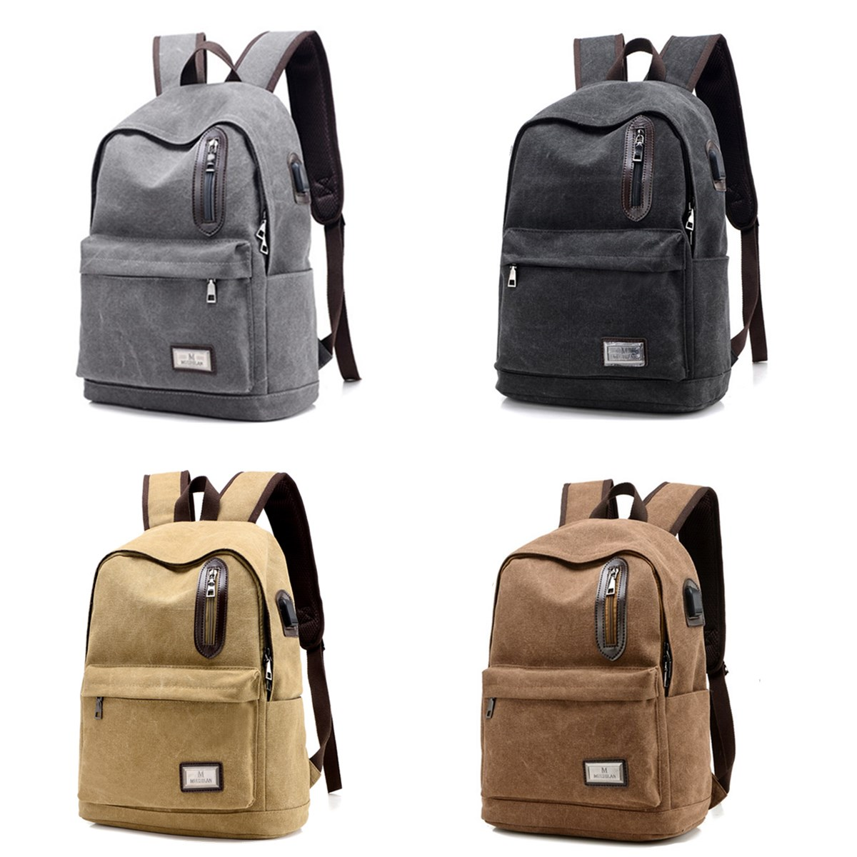 Men Women Casual Canvas Laptop Bag USB Charging Backpack Travel School Rucksack