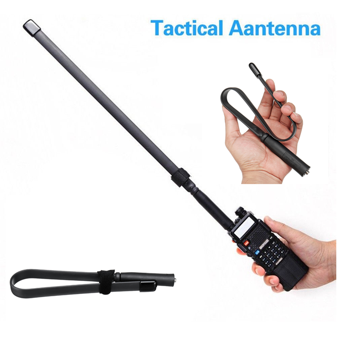 Tactical Antenna SMA-Female Dual Band VHF UHF 144/430Mhz for Baofeng UV-5R/82