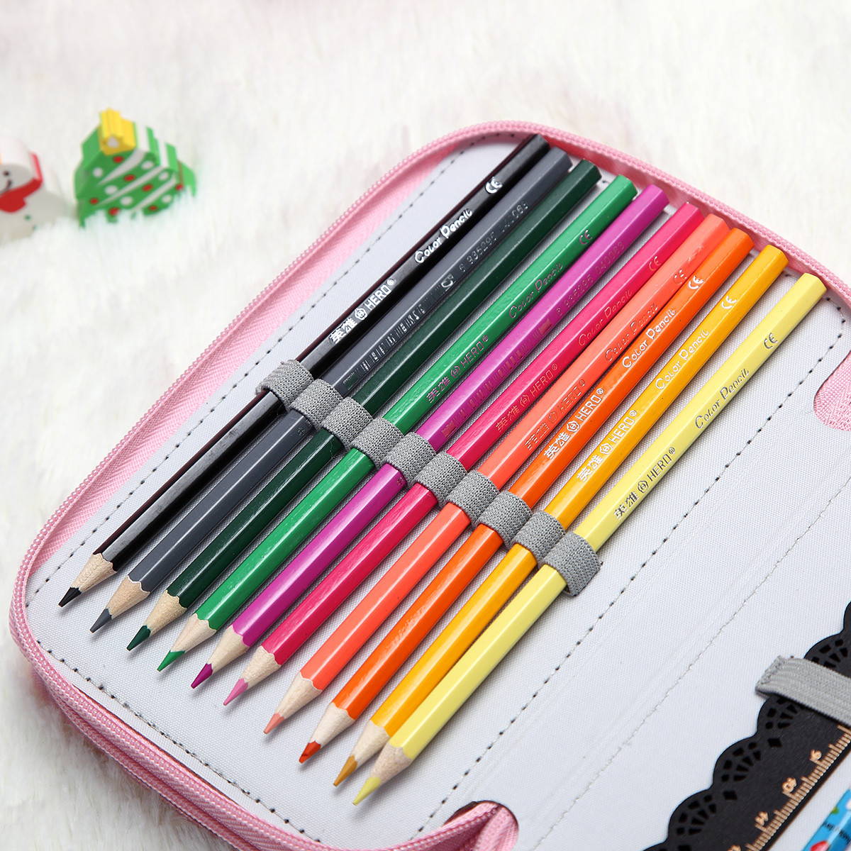 36 Holes Art Pen Pencil Makeup Brush Case Box Students Stationary Zipper Storage Makeup Bag
