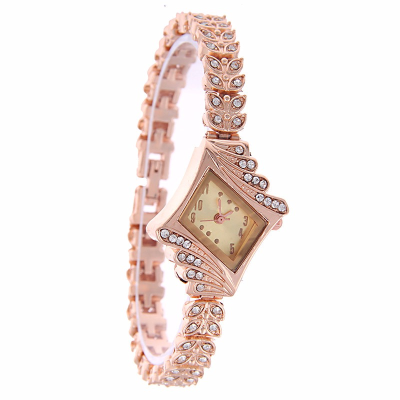 Fashion Ladies Dress Diamond Shape Crystal Quartz Watch