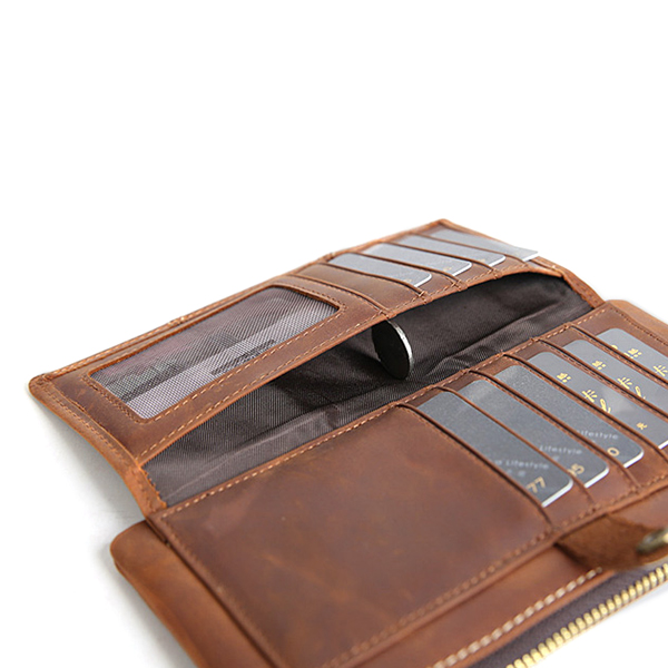 Men Genuine Leather Bifold Wallet Casual Vintage Men Clutch Phone Bag with 10 Card Slots