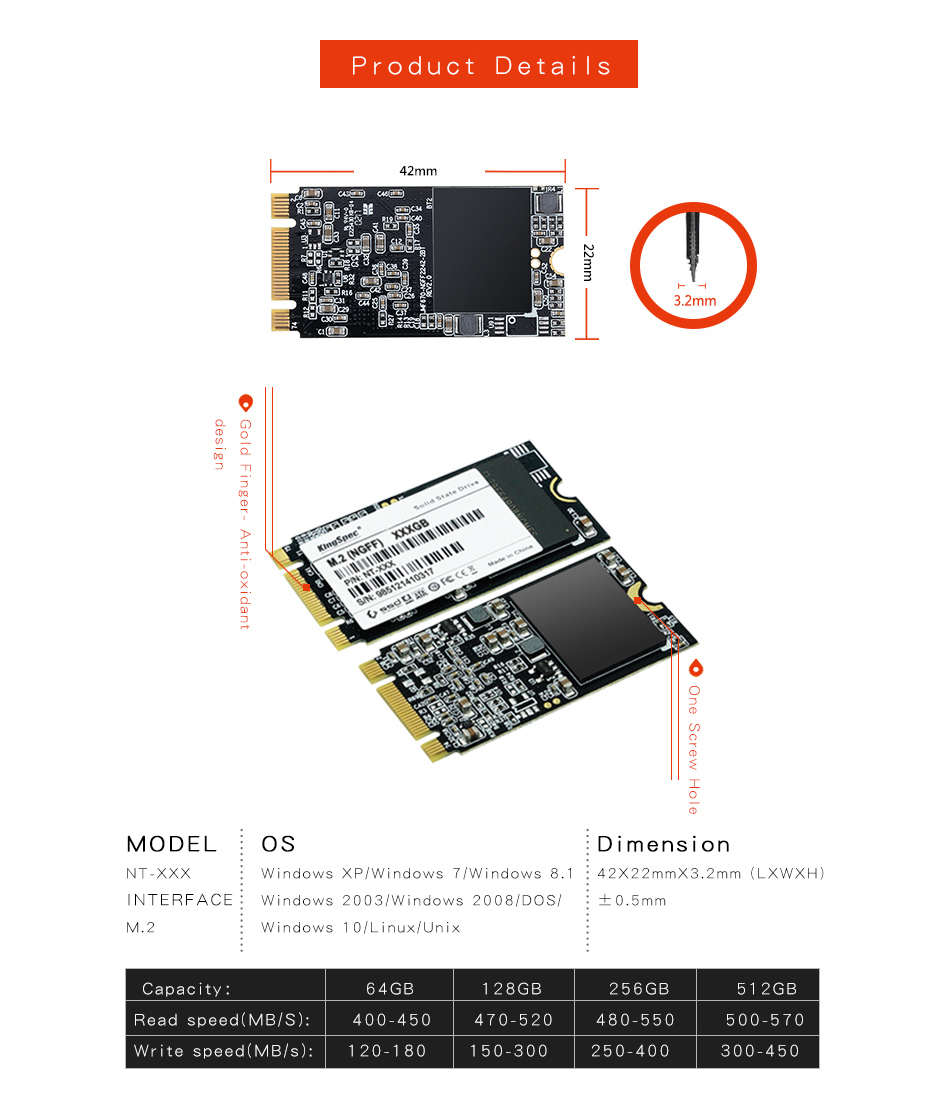Kingspec M.2 NGFF 2242 SATA SSD TLC Internal Solid State Drive Internal Hard Disk 64/128/256GB