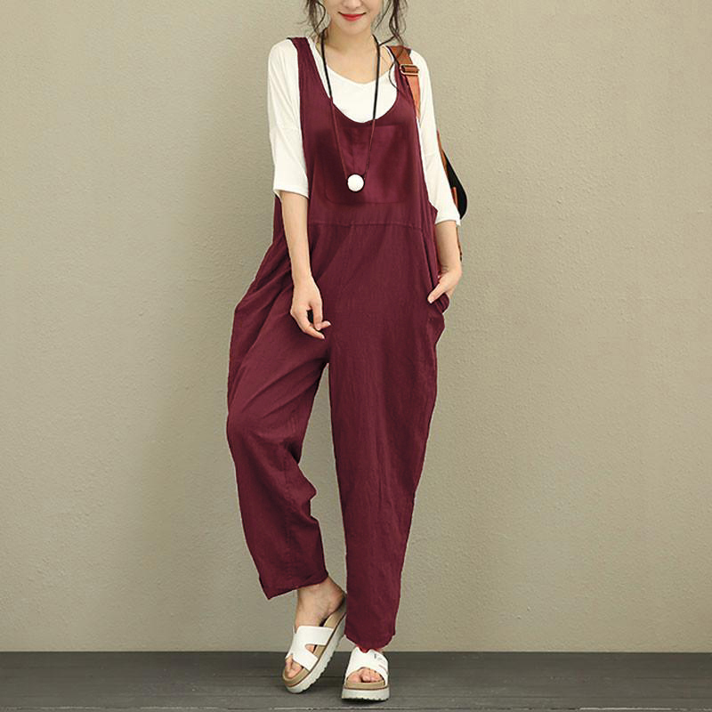 Women Sleeveless Strap Loose Cotton Harem Jumpsuit