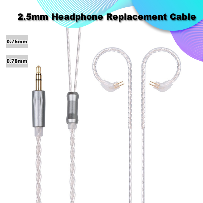 Original TRN Earphone Cable Silver Plated 2.5MM 0.75mm 0.78mm 2pin Audio Cable for TRN Earphone
