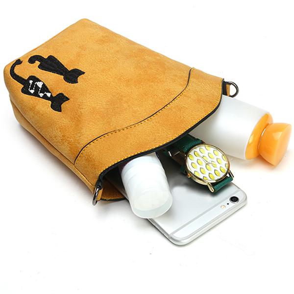 6'' Cute Cat Phone Bag Women Mini Crossbody Bag PU Leather Bucket Bag